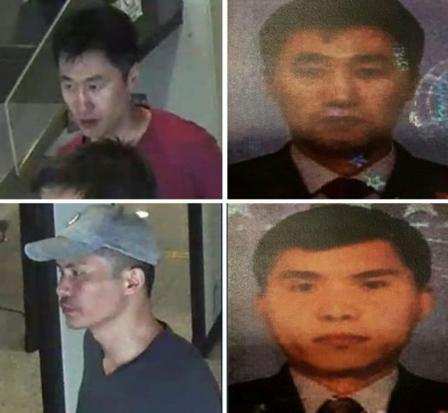 Handout pictures released by the Royal Malaysian Police in Kuala Lumpur on February 19, 2017 showing CCTV images and passport style photos of suspects Hong Song Hac, Ri Ji Hyon.