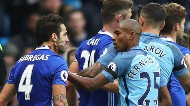 Manchester City and Chelsea players brawling