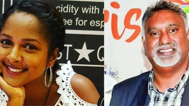 Le correspondant de la BBC à l'île Maurice rapporte que la lanceuse de javelot Jessica Rosun (à GAUCHE) a porté plainte pour harcèlement sexuel contre Kaysee Teeroovengadum