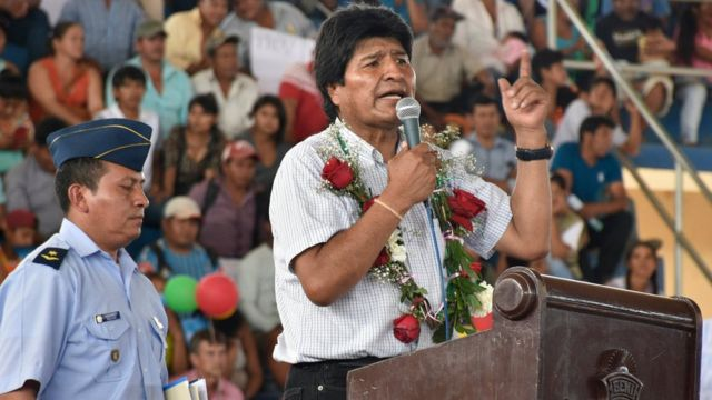 Evo Morales en el acto del domingo