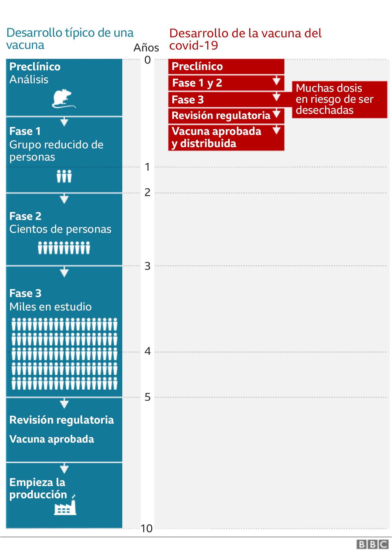 Gráfico de desarollo de una vacuna