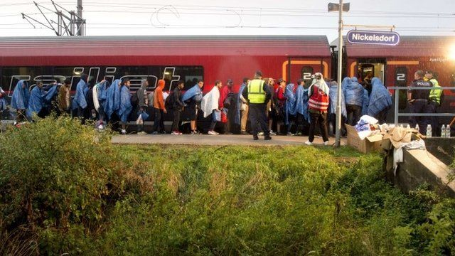 Migrants board a train at the Austrian village of Nickelsdorf after arriving from Hungary