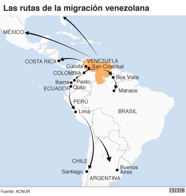 Mapa con las rutas migratorias de venezolanos
