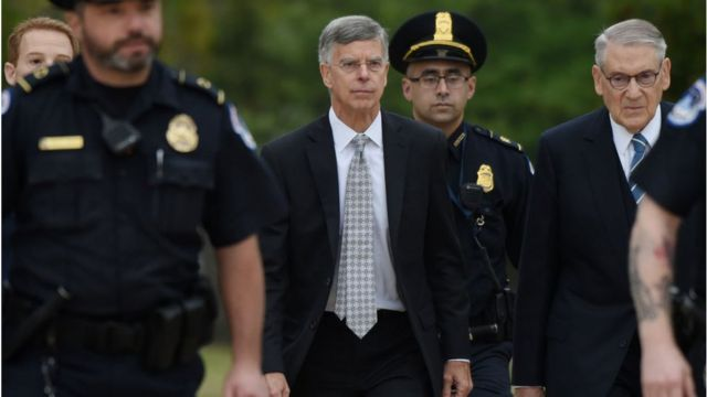 Bill Taylor (C) arrives at the US Capitol to testify before the House Intelligence, Foreign Affairs and Oversight committees as part of the ongoing impeachment investigation of US President Donald Trump on October 22, 2019 in Washington, DC.