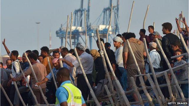 Yemeni refugees arriving in Djibouti