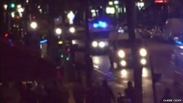 Amateur footage showing a convoy of ambulances