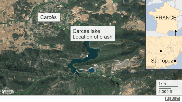 Map showing approx location of crash