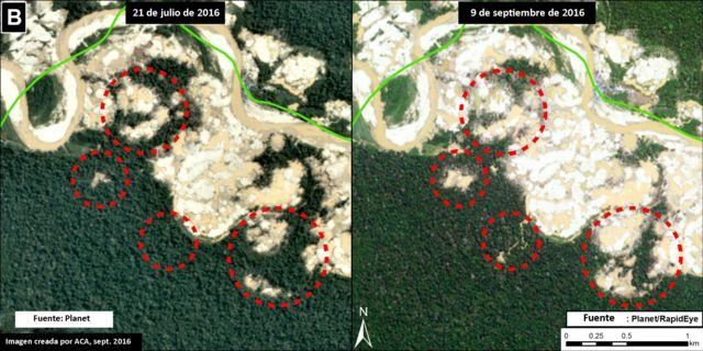 Imagen satelital de la deforestación en la Reserva Nacional de Tambopata, en Madre de Dios, Perú.