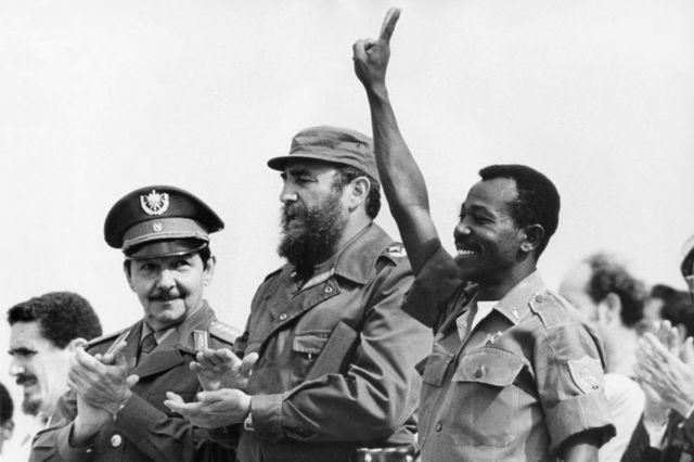 Mengistu Haile Marian with Fidel Castro