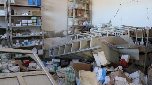 Rusya tarafından vurulduğu iddia edilen İdlib'in Serce Köyü'nde bir hastane