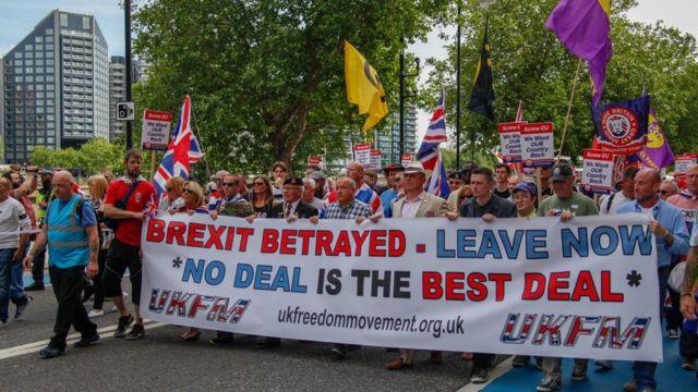 Đoàn người biểu tình ủng hộ rời khỏi EU hồi tháng 3
