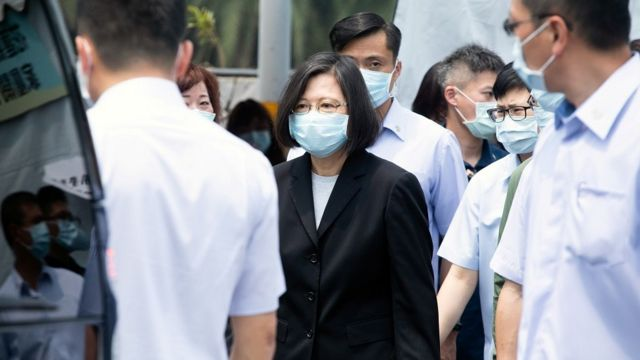 Taiwan President Tsai Ing-wen visits a funeral parlour a day after a deadly train derailment in a tunnel north of Hualien, Taiwan April 3, 2021.