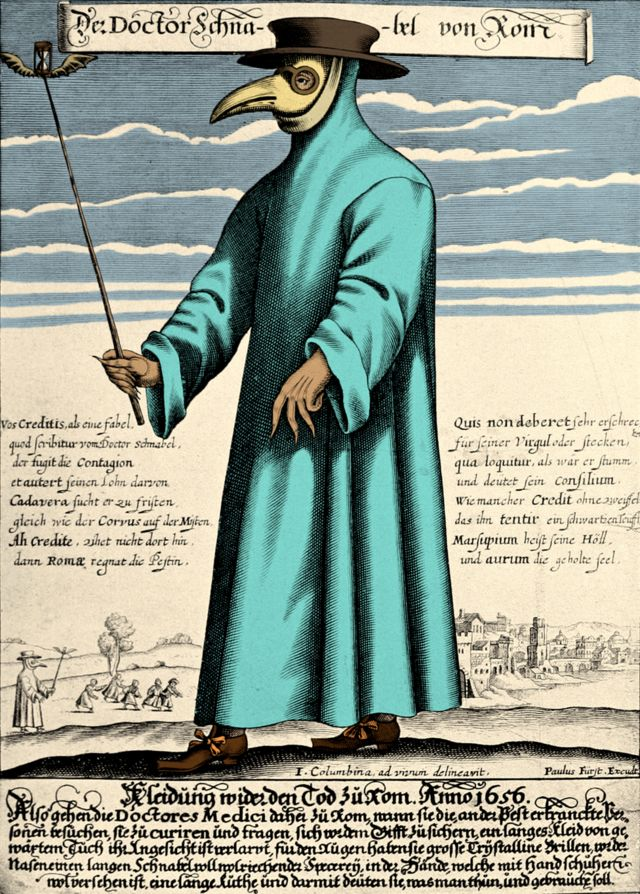 Gravura de 1656 do Doutor Schnabel de Rome, usando roupas protetoras típicas dos médicos que cuidavam da peste na época
