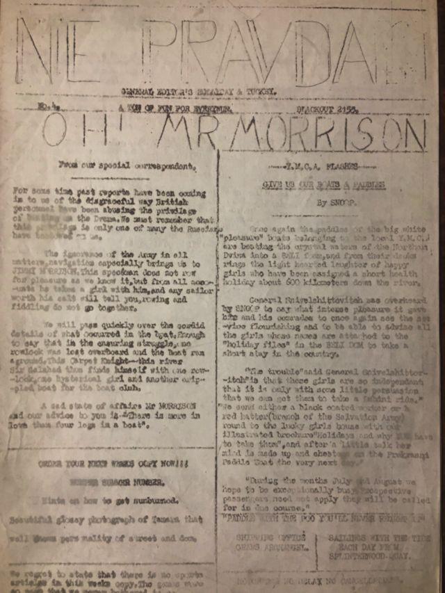 Экземпляр юмористической газеты NE PRAVDA, выпускавшейся британскими военнослужащими в 1942 г в Архангельске