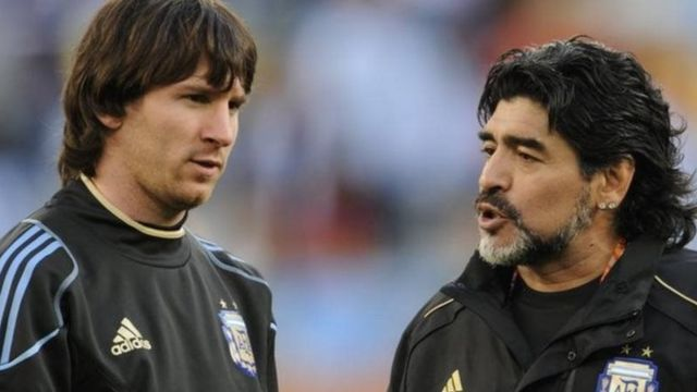 Argentina's A-team: Maradona, then manager of the national side, passes on his wisdom to forward Lionel Messi at the 2010 World Cup but they are beaten 4-0 by Germany in the quarter-finals