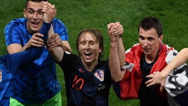 Croatia midfielder Luka Modric (centre) was charged with perjury in June