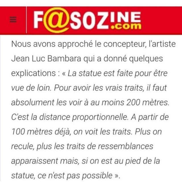 Le sculpteur Jean-Luc Bambara a expliqué que sa statue ne pouvait être appréciée qu'à 200 mètres.