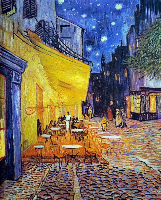 Cafe terrace at night.  Vincent van Gogh 1888.