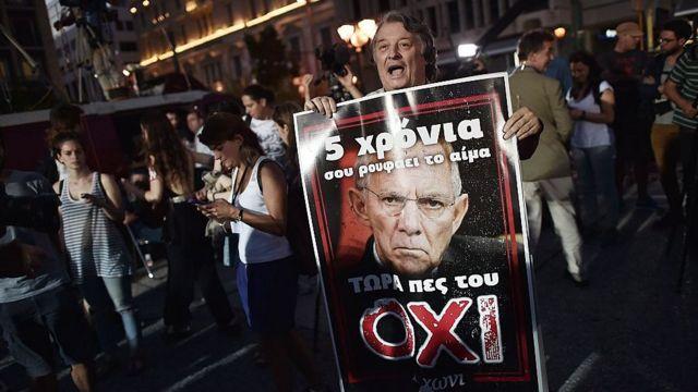 Демонстрант, протестующий против мер экономии в Греции, с портретом Вольфганга Шойбле