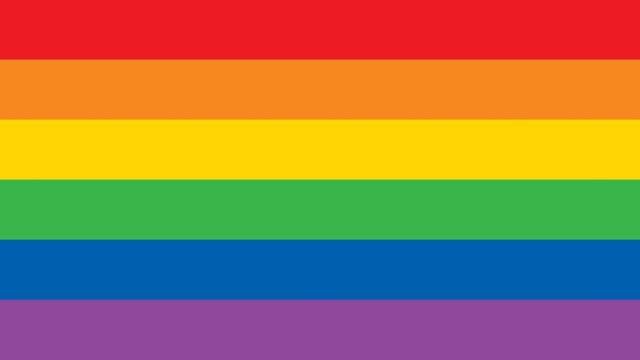 A six-colour rainbow flag