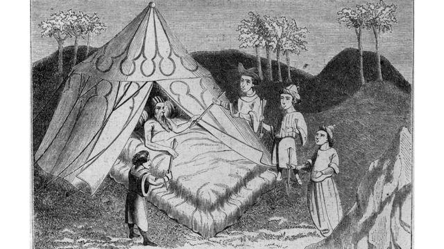"""Миниатюра """"Чингисхан на смертном одре в окружении сыновей"""""""