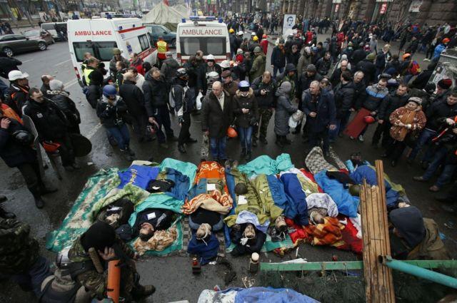 тіла вбитих на Майдані 20 лютого 2014 року
