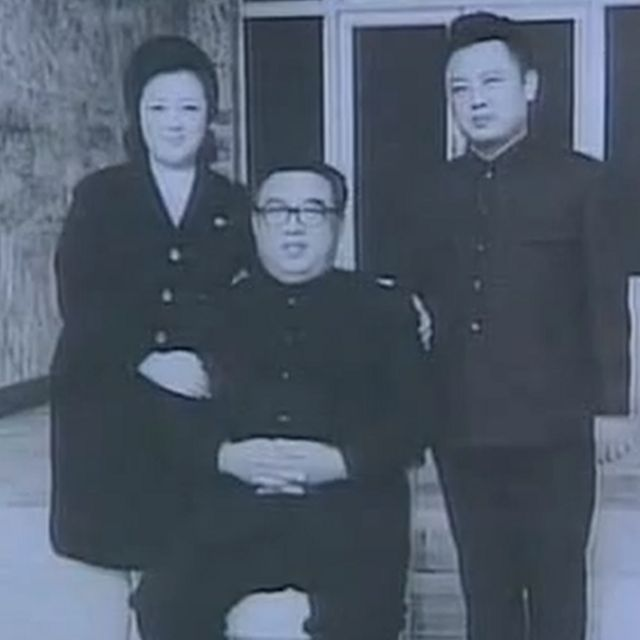 Kim Kyong Hui with Kim Il Sung (centre) and Kim Jong-il during the 1970s