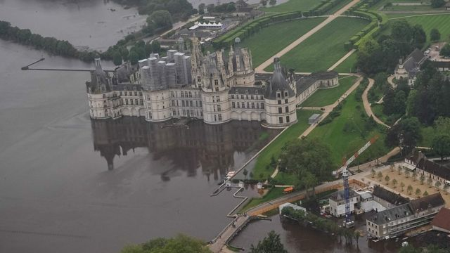 The castle of Chambord, south-west of Paris, and its partly flooded park after the river Cosson burst it banks