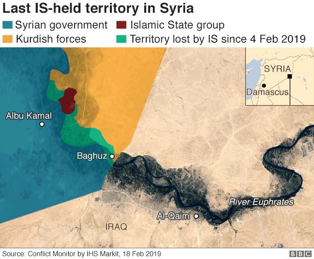 Wilayah berwarna coklat menunjukkan wilayah kekuasaan ISIS per 18 Febuari 2019.