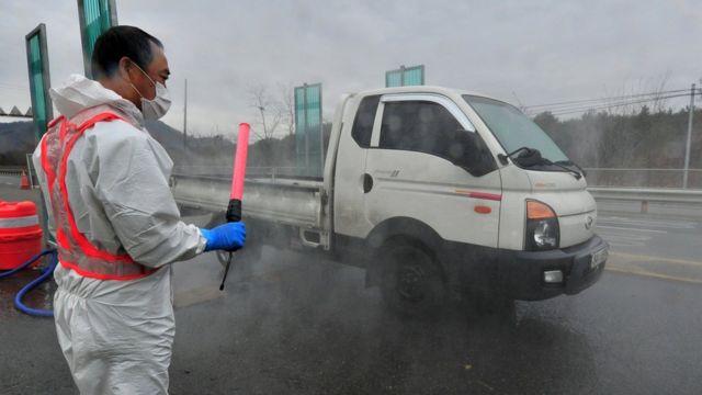 موظف من وزارة الزراعة يعقم سيارة من الفيروس