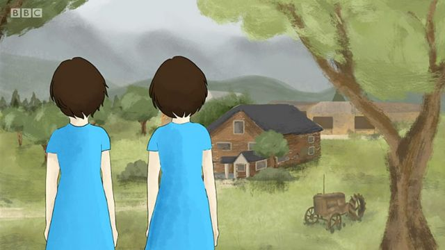 Dibujo de las niñas frente a su casa
