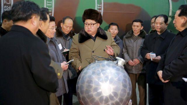 Kim Jong-un inspecting a nuclear facility