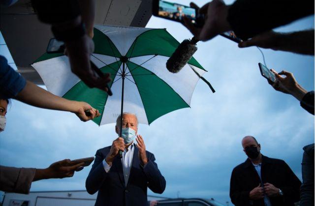 Joe Biden speaks to the press