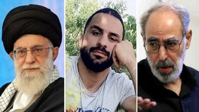 از راست ابوالفضل قدیانی، نوید افکاری و علی خامنهای