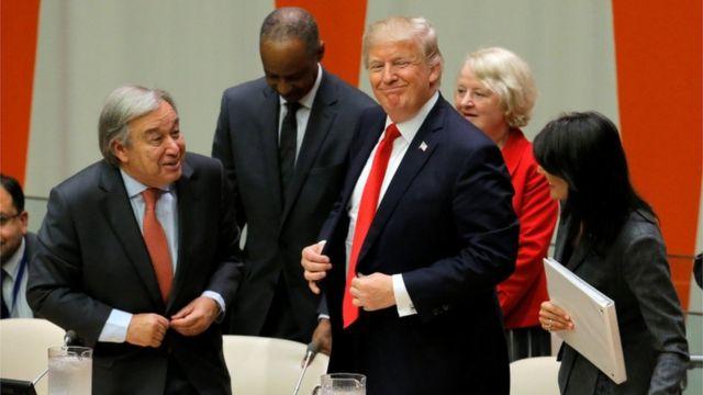 特朗普在联合国,联合国秘书长(左)也要让他三分