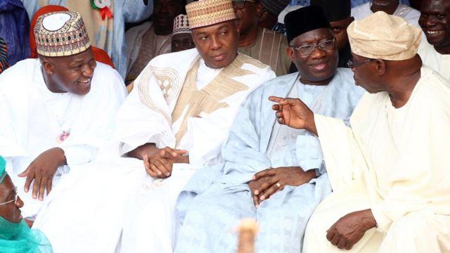 Yakubu Dogara, Bukola Saraki, Goodluck Jonathan, ati Olusegun Obasanjo
