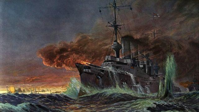 Pintura de Batalla Coronel hecha por el pintor alemán Adolf Bock.