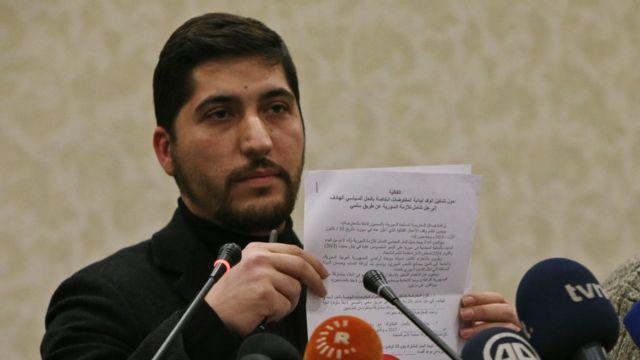 أسامة أبو زيد، الناطق باسم الجيش السوري الحر، في مؤتمر صحفي في أنقرة يوم الخميس 29 ديسمبر/كانون الأول 2016