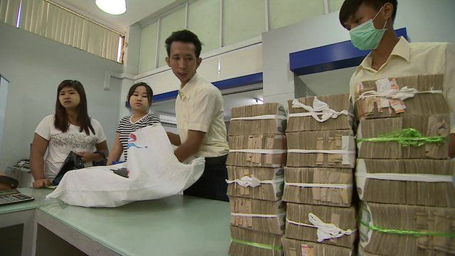 Cash at a bank in Myanmar