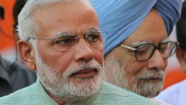 नरेंद्र मोदी, मनमोहन सिंह