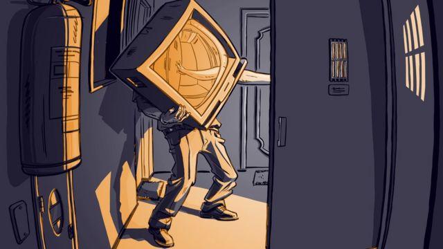 Ilustração mostra porteiro carregando televisão para dentro de elevador