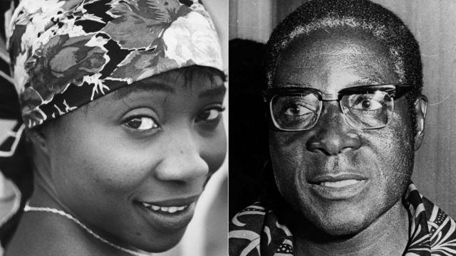 Sally Hafron circa 1955 (Kushoto ), na Robert Mugabe mnamo 1976 ( Kulia)