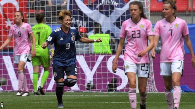 Japan's Yuika Sugasawa celebrates scoring against Scotland