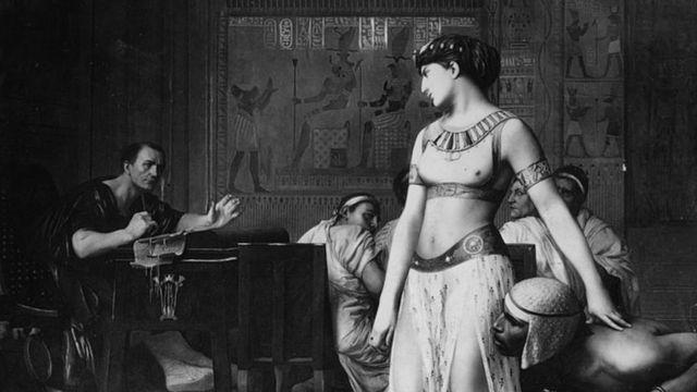 Una ilustración de Cleopatra y Julio César