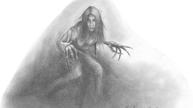 Литография, ведьма с длинными когтями