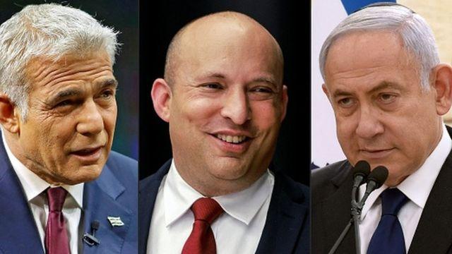 Слева направо: Яир Лапид, Нафтали Беннет, Биньмин Нетаньяху