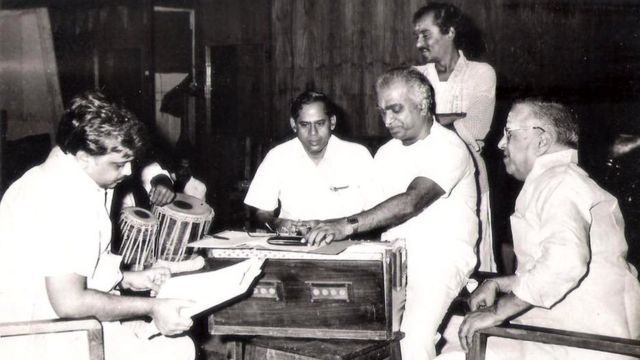 """To day is Sri. K.V.Mahadevan's birth day. My second song in Telugu was his composition for the film DBN Productions,PRIVATE MAASTAARU, directed by Sri. K.Viswanadh """"Paaduko Paaduko"""" written by Sri. Arudra, picturised on Rama Mohan and Kanchana, in 1967. From then the Maestro who is one of my Mentors gave me innumerable songs in Telugu, Tamil, Malayalam and Kannada. For me Mahadevan and Pugazhendi are not two entities. One is Body and the other is Aathma. I had never come across such a Guru and sishya. We all know what Sankarabharanam gave me and the music lovers."""