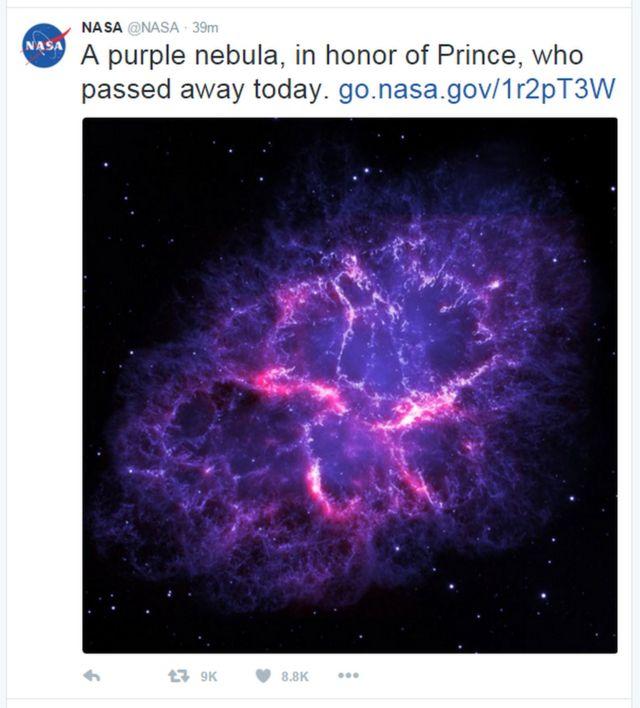 米航空宇宙局(NASA)は「今日亡くなったプリンスを称えて、パープルな星雲を」とツイートした
