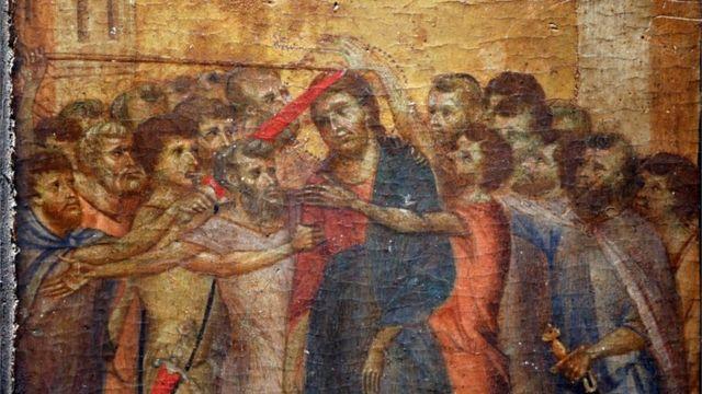 Parte da pintura O Escárnio de Cristo