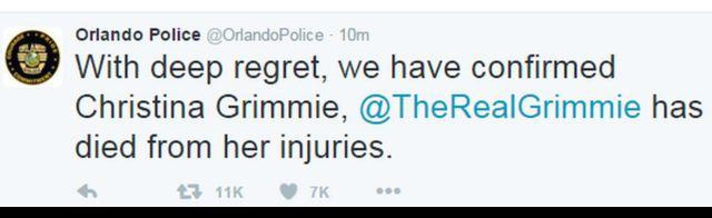 Tuíte da polícia de Orlando